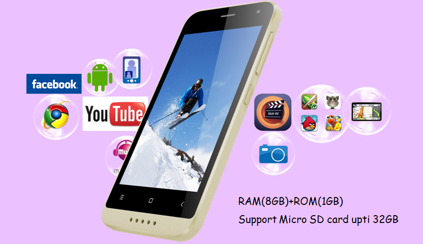Original MTK6737 Quad Core 4.0 Inch Android 4G LTE OEM Smartphone Wing Mobile Phone