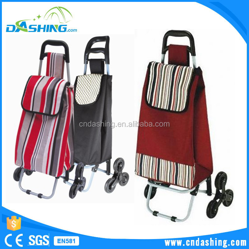 Hot sale foldable plastic shopping trolley convenient folding shopping trolley bag with six wheels