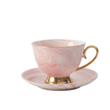 HT104558 Pink Marble Gold Rim Ceramic Coffee Set Cup With <strong>Plate</strong> ,Birthday Gift For Friends Couple .