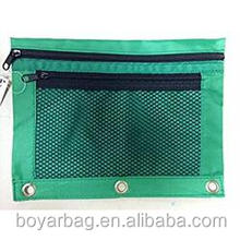 Alibaba Mesh net pocket oxford fabric 600D pencil pouch with 3 ring.
