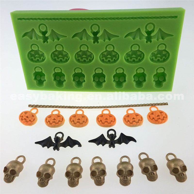 Wholesale Pumpkin Bat Human Skeleton Shaped Clay Pendant Halloween Silicone Mold
