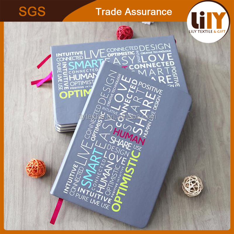 Cute Korean Style English Printing A5 PU leather notebook for student made in china