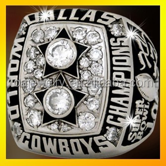 wholesale 1977 Dallas cowboys silver 925 or brass with rhodium plating zircon setting championship ring, 3D design ring