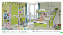 2014 special design apple green bunk bed is made by E1 MDF board and environmental paint