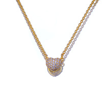 wholesale charming jewelry silver necklace heart 14k yellow gold