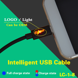 Factory Supplier OEM LOGO LED Cable Micro 5Pin USB Data Cable with LED For Samsung ,HTC,Blackberry,Android Phone