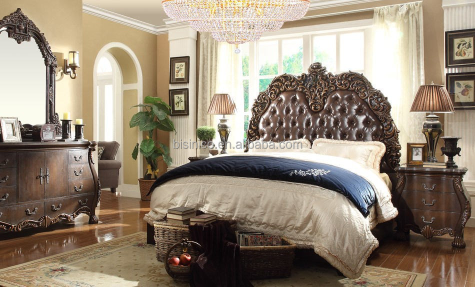 hand carved wood bedroom sets style solid luxury furniture mahogany