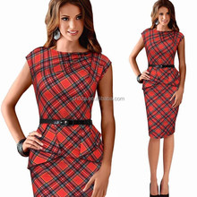 C21398B 2015 New Women Vintage Elegant Belted Tartan Peplum Ruched Tunic Work Cocktail Party Cap Sleeve Bodycon Sheath Dress