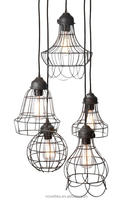 Wire Five-Light Basket Cages Hanging Lamp Rustic Look Pendants for The Home and Bar