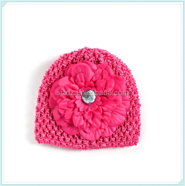 Hot sale 100 cotton children hat with flower designs knit infant caps