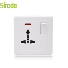 UK type PC panel white gold silver 13A multi-function power Switched socket with neon for ceiling fan
