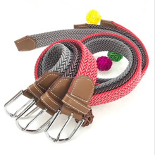 Hot selling fashion braided mens elastic stretch belts with buckle
