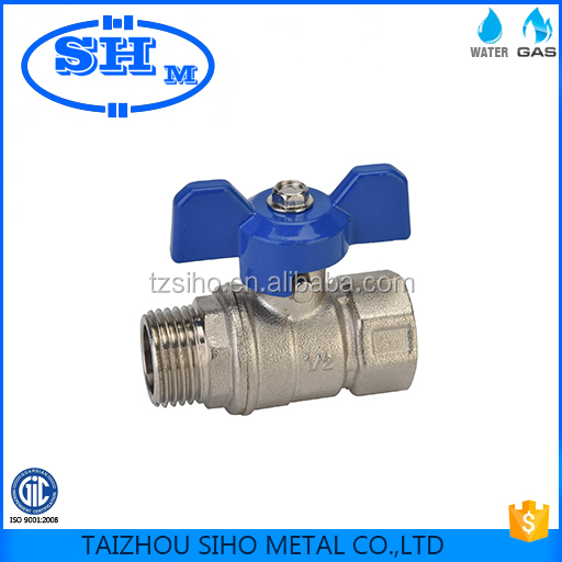Chinese manufacture forged CW617n gas and water butterfly ball valve