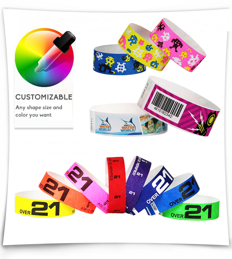 Disposable Paper UHF RFID Wristband Bracelet Smart Sports Tag For Music Event
