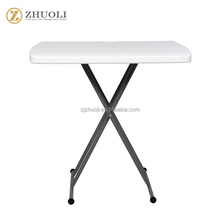 adjustable height stackable square plastic outdoor garden folding table