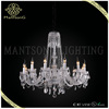 Modern style chrome crystal chandelier pendant candle light dressed with crystal pendants and glass plates