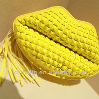 2014 hot sell new designer lips images PU women handbags woman sex clutch bag yellow green pink fashion bags