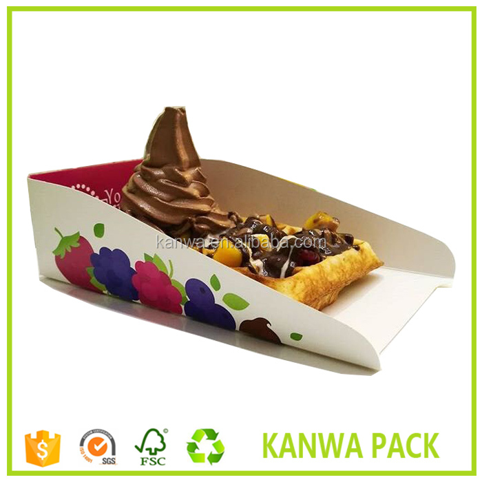 Custom printed own brand food grade paper waffle tray