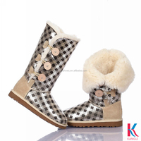white sheep wool lining women low price stretch snow boots