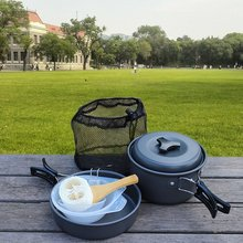 Free shipping Camping Cookware Set Lightweight Compact Durable Outdoor Cooking Mess Kit