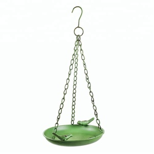 Green Garden Metal Bird Bath or Feeder Bowl