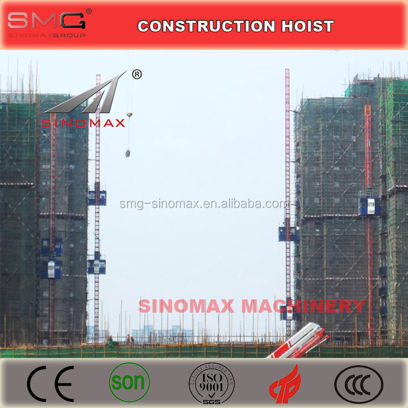 2T Double Cage/Cabin SC200/200 Building Construction Hoist, Construction Elevator, Construction Lifter for sale in China