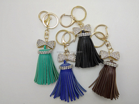 Smart Leather Tassels Key Chain Rhainstone Bowknot Key Ring Women Bags Accessories Hanging Drop Car Hanging