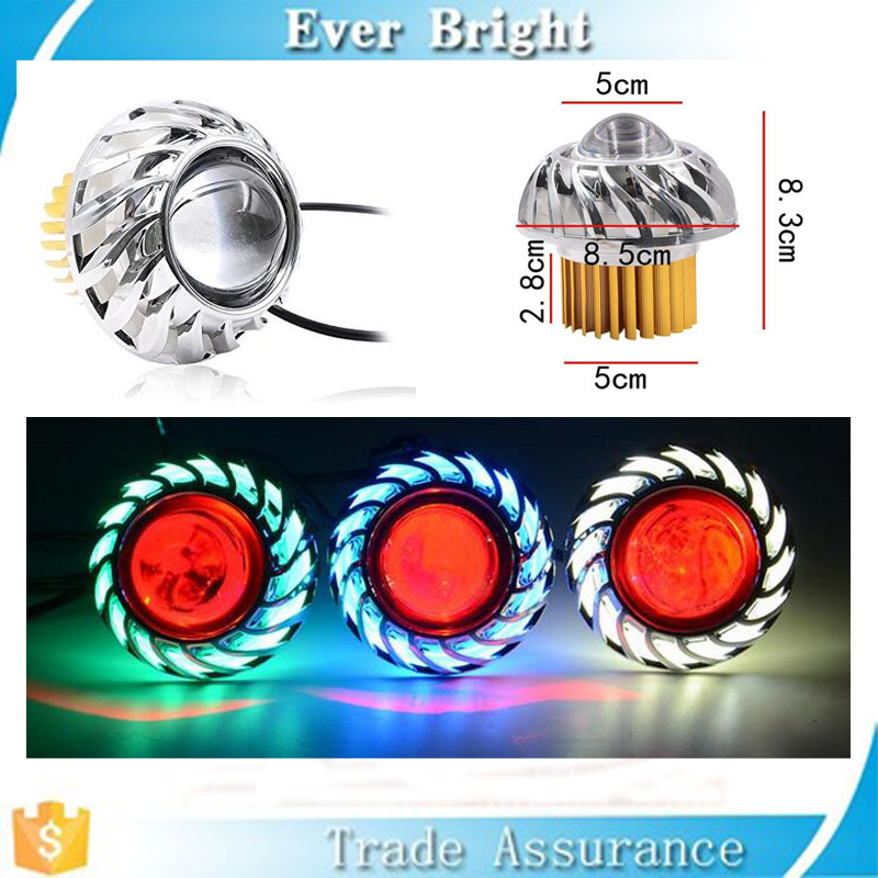 High Low Beam 6000K LED Headlight CCFL Halo Ring Angel Eyes for Motorcycle Sportbike Scooter Cruiser