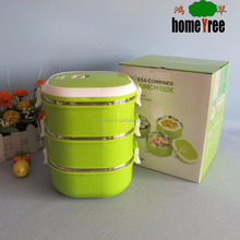 3 layers Square Click Lock Food Container Plastic Food Container