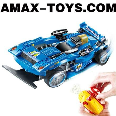 rbbc-8998418 rc toys car 4CH High Speed Building Block Remote Control Car with Fashionable Transmitter(Blue Version)