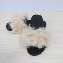 Sandal Shoes Woman Sheepskin The Fluffy Winter Sheep Warm Soft Indoor Slipper With Fur