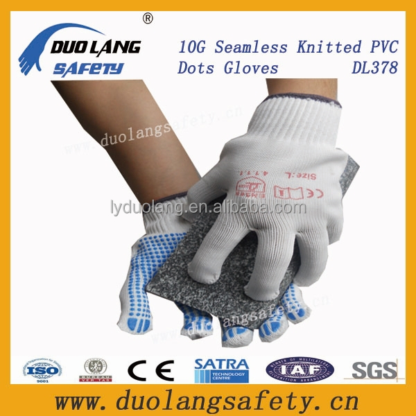 Custom Logo Hand Gloves Working Glove White Cotton Gloves with pvc dots on palm