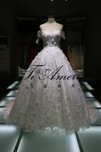1A515 asymmetrical appliqued lace 3D handmade flowers off-shoulder classic wedding dress