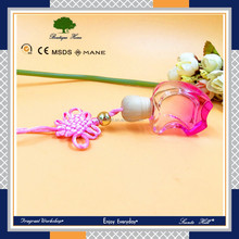 8ml/10ml/12ml/15ml fashion popular apple shape Wooden Cap With chinese knot Rope Glass Refill Hanging Car Air Freshener Bottle