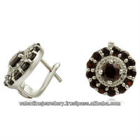 2015 latest earring for women, Exclusive silver gemstone earring, Garnet gemstone silver earring jewelry manufacturer