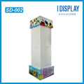 customize 4 sides cardboard display rack with plastic hooks for toys