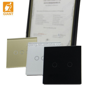 1-3 gang Black / White Crystal Glass Panel Touch Switch energy-saving light switch