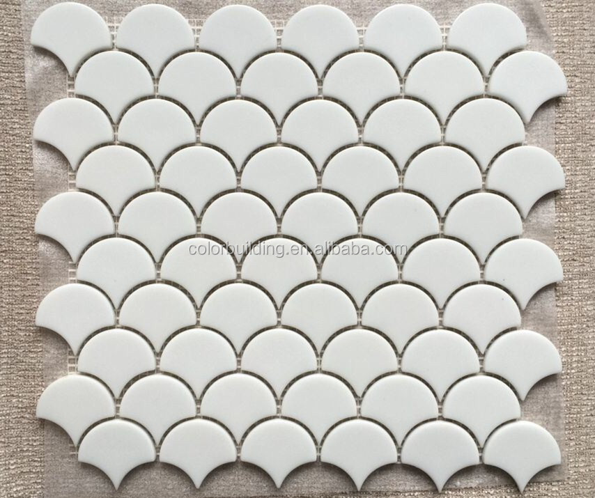 Glass fish scale tile design backsplash mosaic fan shape recycle glass white mosaic tile