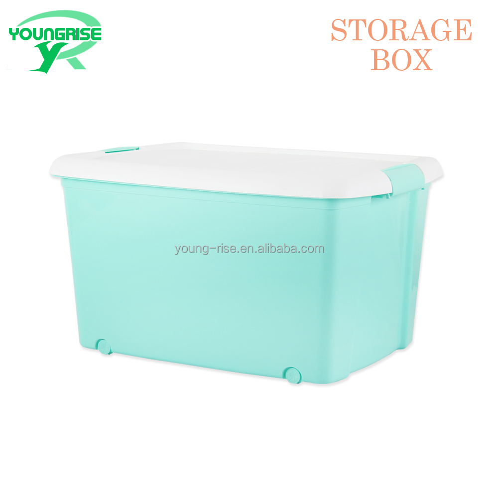 2017 Lastest colourful household plastic storage container with handle and wheels for toys and clothing