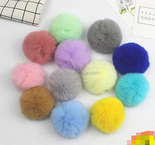 BC-7 Wholesale Colorful Rex Rabbit Fur Pom Poms For Key Chain