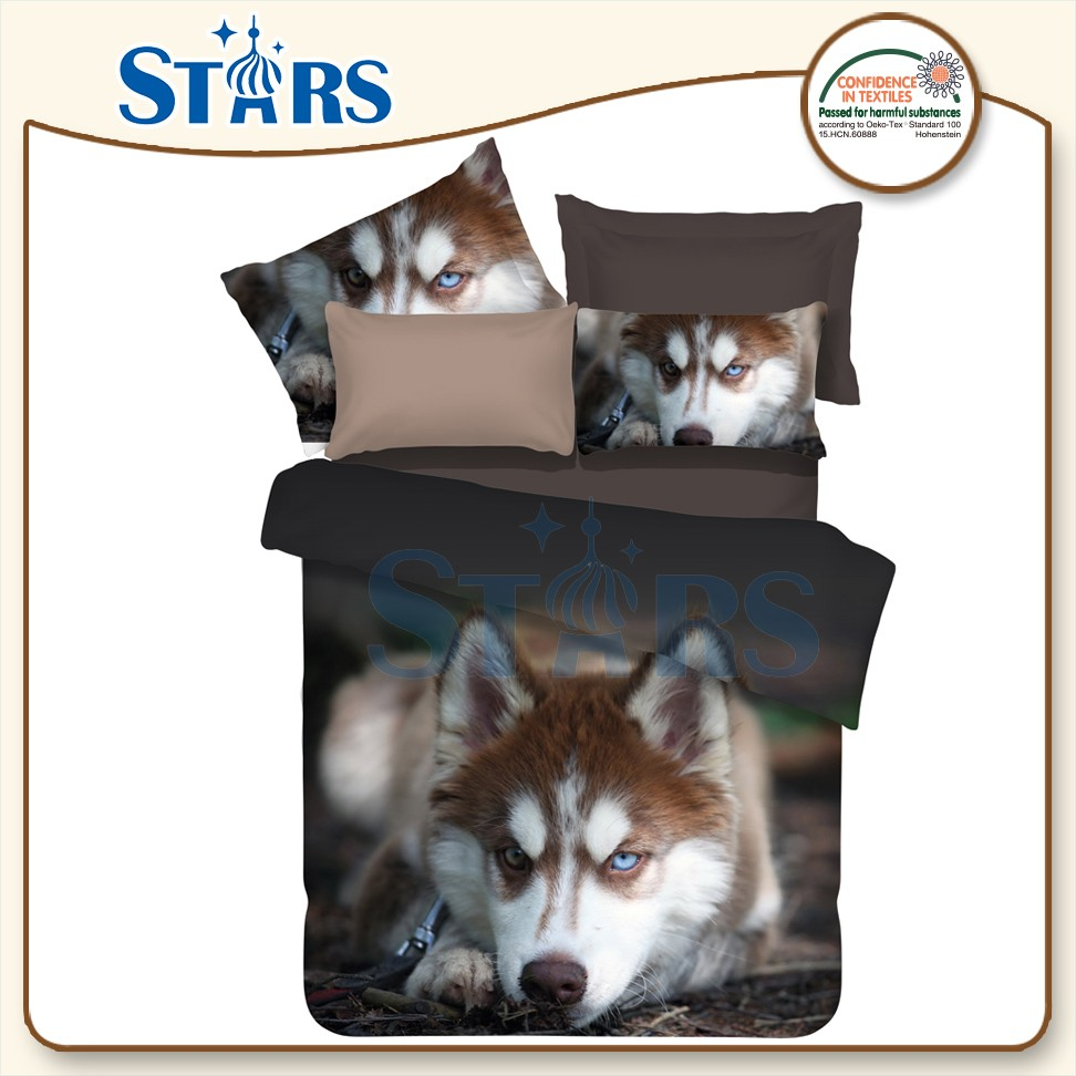 GS-FM3DA-06 ODM Husky dog animal pattern 100% polyester fabric