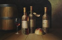 Handmade Wine Bottle Still Life Oil Painting On Canvas for home decoration