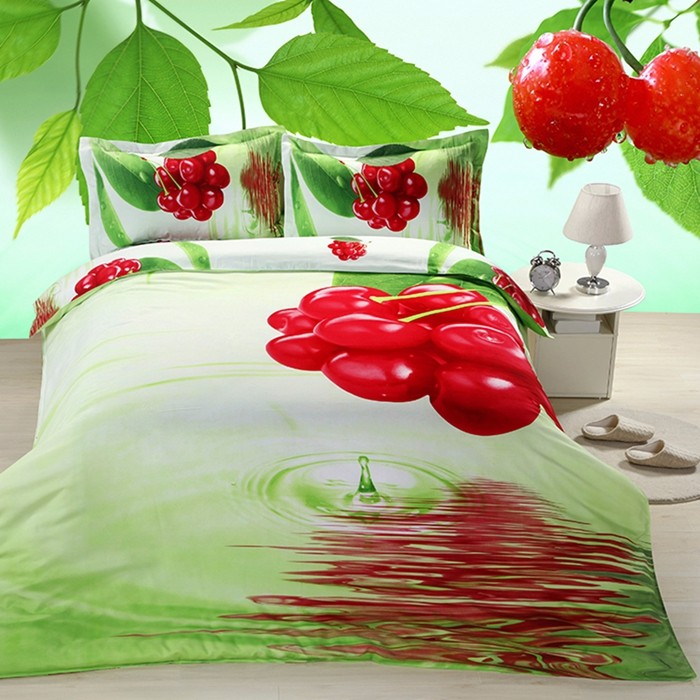 Cherry Pattern With Green Leave Fixed Version 3D Painted Bedding