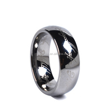 Mens 8mm Tungsten Carbide Ring Black Lord of the Rings Laser Pattern High Polished