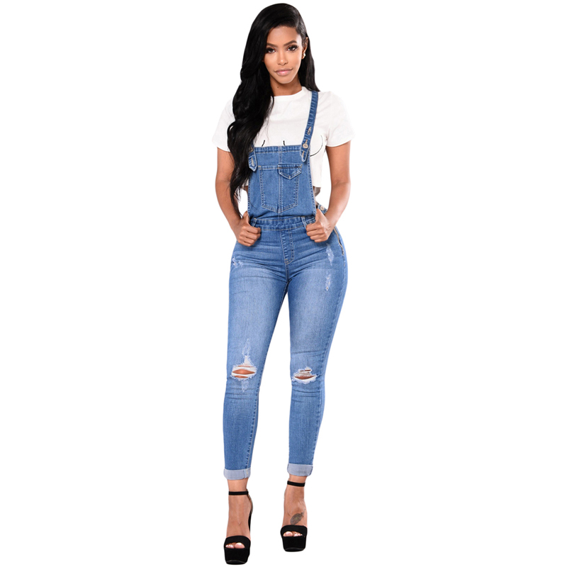 Hot Selling Wholesale Women Dark Blue Denim Laidback Distressed Skinny Ripped Overalls Jeans