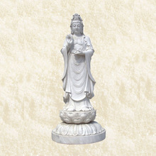 life size Chinese white stone female tall buddha statues