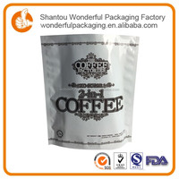 Food grade zipper stand up bag for coffee printed paper pouch