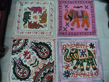 white indian embroidery cushion covers
