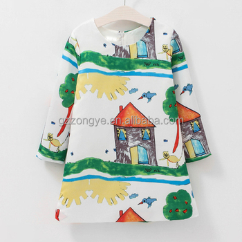 Children's cartoon patterns wear clothes mini summer girls dresses