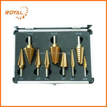 Straight flute 9pcs HSS step drill bit set with aluminum case